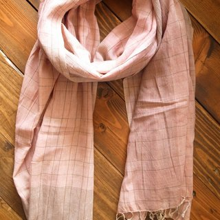【Grooving the beats】[ Fair Trade] Organic Cotton, Hand woven, Natual Dye Shawl / Scarf(Plaid_Light Pink+ Light Brown))