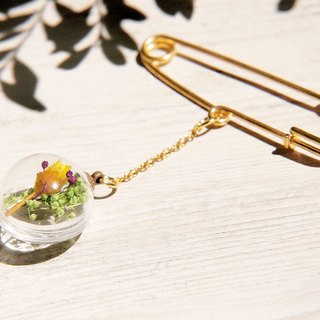 Tanabata gift / botany / French textured glass ball golden brooch pin - yellow flowers + green + purple stars vines