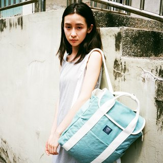 Canvas backpack _ lake water green. White (limited color / stock)