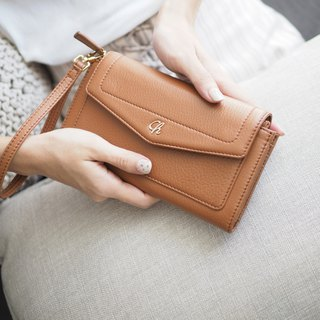AVA (Caramel brown) : long wallet, brown wallet , cow leather wallet