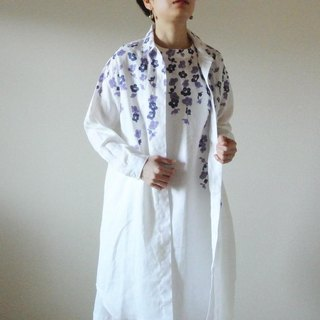 Linen · Long Shirt White <Uranium ume>