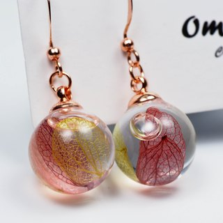 OMYWAY Handmade Dried Flower - Glass Globe - Earrings 1.4cm