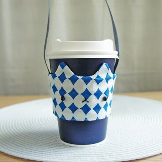 Lovely【Japan Cloth】Geometric Square Comet Drink Cup Bag, Cat Drink Cup Set [White Blue]