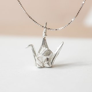 Folding sterling silver Chiaki crane necklace / sterling silver paper crane necklace / paper bird necklace / hope necklace