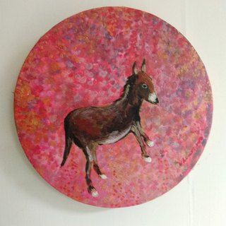 Sweet dreams _ acrylic painting _ small painting _ home decoration _ round
