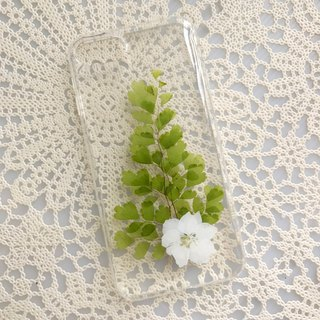 iPhone 7 Dry Pressed Flowers Case White Flower with Green Leaves 024
