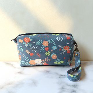 Color matching flower double layer cosmetic bag / coin purse storage bag