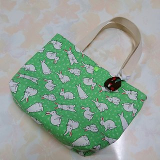 Green full version rabbit rabbit handbag