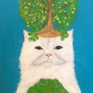 Plum tree cat original painting