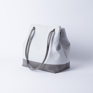 Good texture color bucket bag portable dual-use light gray x dark gray