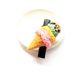 Hair black hairpin ice cream as well.