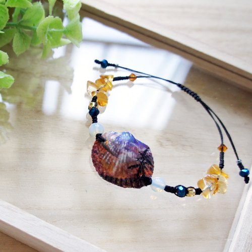 Hand painted sunset and palm tress shell charm wax thread bracelet
