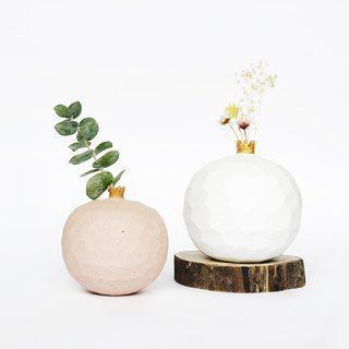 Handcrafted Ceramic Pomegranate Vase -Matt White