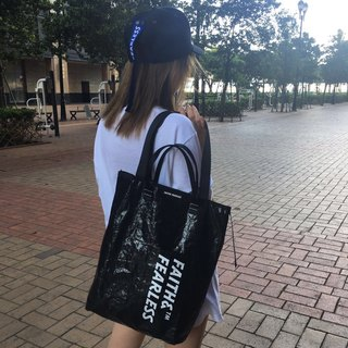 Faith & Fearless Tote Bag_Black Pearl