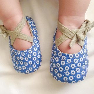 125 Japanese blue wave point X Japan dyed cloth handmade strap baby shoes baby shoes toddler shoes
