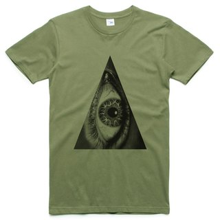 Triangle Eye Neutral Short Sleeve T-Shirt Army Green Triangle Eye Gemini Design Own Brand Fashionable Circle of Justice
