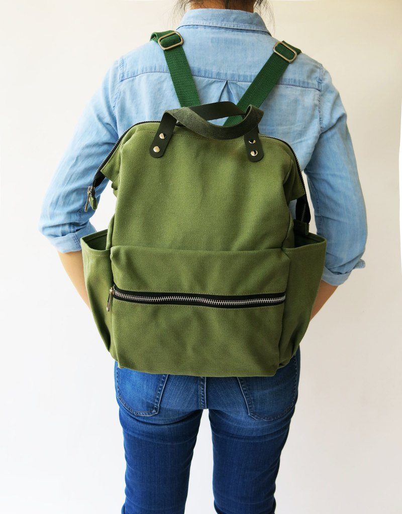 Olive Diaper Backpack Bag Green Canvas Laptop