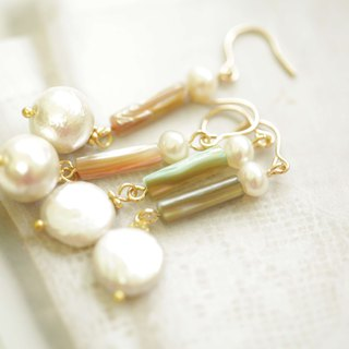 Natural shell straight tube pearl earrings │ Baroque pearl cotton pearl can change clip-style Christmas gift