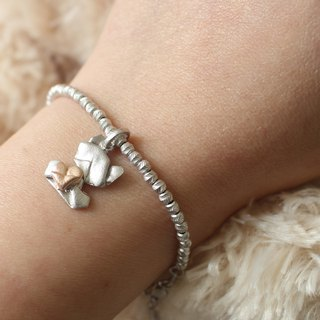 Bear My Love (Silver / Matte) Sterling Silver Heart Charm Bracelet in Sterling Silver