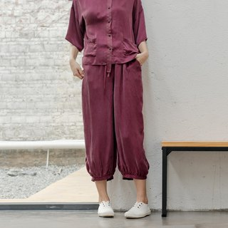 BUFU soft cuprammoniu wide-leg pants purple/black