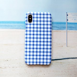 French small blue plaid phone case