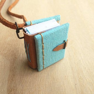 Mini Book Necklace (PastelBlue), with adjustable faux suede cord