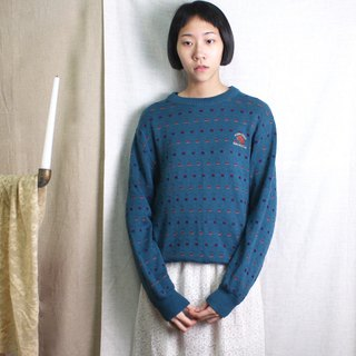 FOAK Vintage U.S. Made Cotton Lake Blue Stereo Knit Sweater