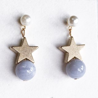 Little little star Agate Non allergic earrings