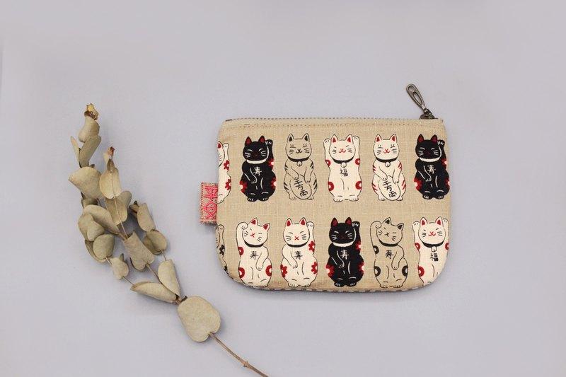 平安小樂包-黑白招財福氣貓咪(米色底),雙面雙色錢包