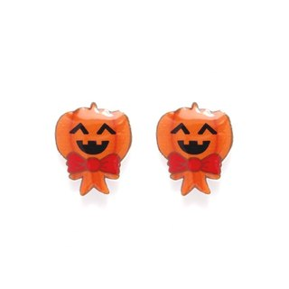 Fox Garden hand-made Halloween series: giggle Pumpkin earrings / ear clips / earrings party must specify if no designated transparent ear clip shipments