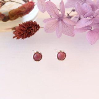 . Hand made earrings. Rhodonite rose stone ear clip / ear type dark red