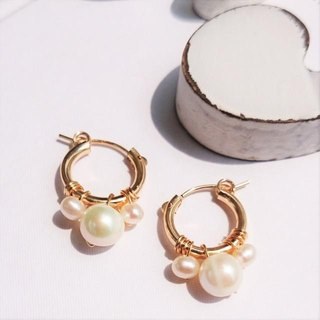 14kgf * big pearl bubble pierced earring variable ear 夾式