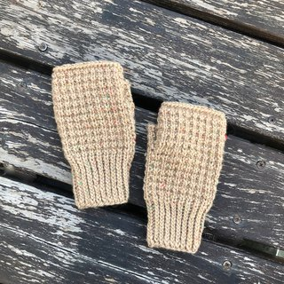 Xiao fabric hand-woven color point wool fingerless gloves khaki