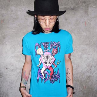 ON THE HORNS OF A DILEMMA TEE The original intention of the split with the devil T-shirt (bright blue)