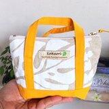 Pouch(mini bag style)〜White leaf & Orange〜LaKaori Original