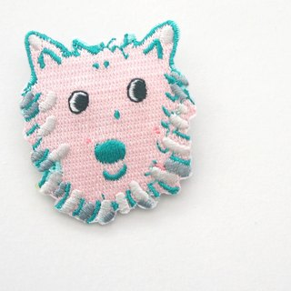 Smile wavelet dog embroidery pin / patch