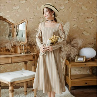 2018 autumn new female long-sleeved first love retro dress dress