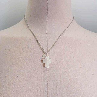 Silver Double Cross Necklace Rock Quartz plus Micro-Inlaid White Zircon Pendant