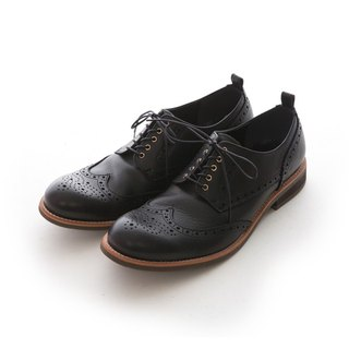 ARGIS Bullock carved Derby casual shoes #41206 gentleman black - Japanese handmade