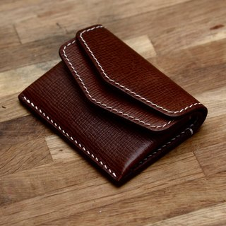 Cans handmade brown crosses calfskin electronic payment times wallet 2 cards with a small amount of cash