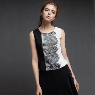 Black and white embroidery lace sleeveless top