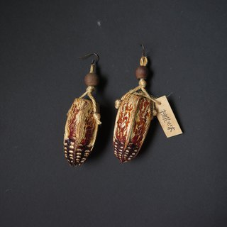 No.17 mahogany big fruit handmade earrings
