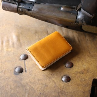 日本製造 栃木皮革製作 牛皮 名片夾 名片盒 芥末黃 made in JAPAN handmade leather card case