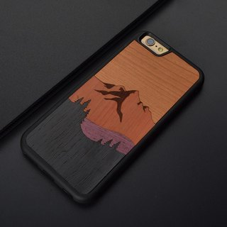 sonrmum iPhone 6 S Pin Spell Steele Mountain Phone Case Apple 7 PLUS Wooden Ultra-thin Protective Case Samsung S7 edge S8 plus
