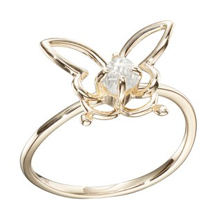Butterfly Ring, Filigree Ring, Bug Jewelry, Salt and Pepper Diamond Ring