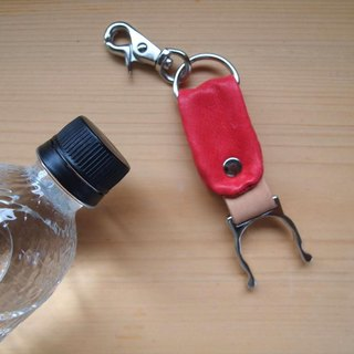 Swine leather * PET bottle holder * Red * Leather