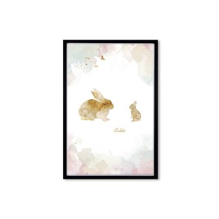 HomePlus Decorative Frame BEST COMPANION-RABBIT Black frame 63x43cm Homedecor