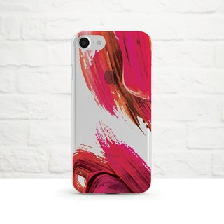 Abstract Acrylic Painting, Crimson- Clear Soft Phone Case, iPhone X, iPhone 8, iPhone 7, iPhone 7 plus, iPhone 6, iPhone SE, Samsung