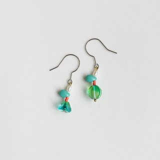 Natural pair of natural stone glass earrings