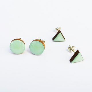 Tiny geometric triangle and circular wood earrings - olive green powder